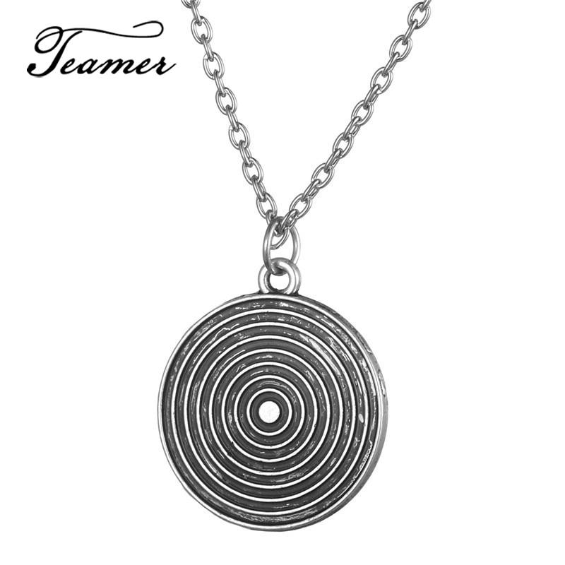 Teamer único lado espiral disco redondo pingente colar seta alvo colar masculino vintage antigo prata cor jóias presentes