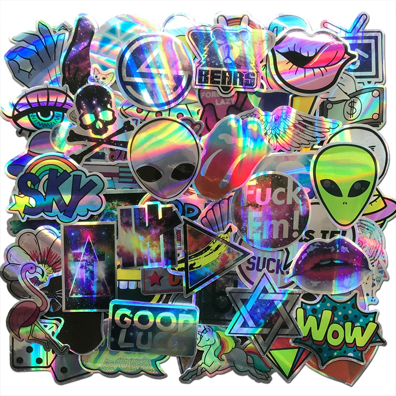 AQK 60Pcs/Lot Cool Motorcycle Laser Stickers Bomb Tide Brand ET Alien Decals For Skateboard Luggage
