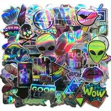 AQK 60 stks/partij Cool Motorcycle Laser Stickers Bomb Tij Merk ET Alien Decals Voor Skateboard Bagage Laptop Notebook Gitaar Auto