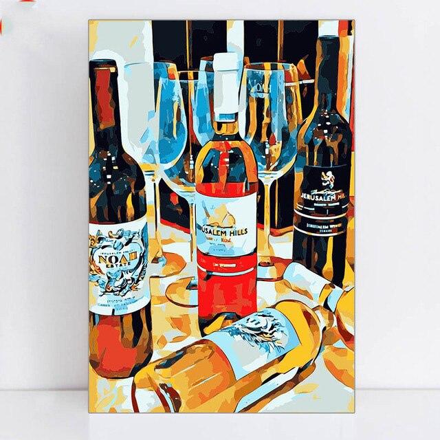 יין בקבוק KTV בר מתנת אופנה צביעה על ציורי בד על ידי מספרי עם מצייר מסגרת
