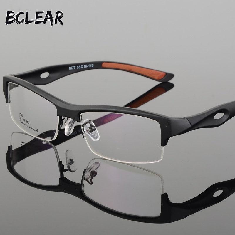 BCLEAR Spectacle Frame Attractive Mens Distinctive Design Brand Comfortable TR90 Half Frame Square Sports Glasses Frame Eyeglass