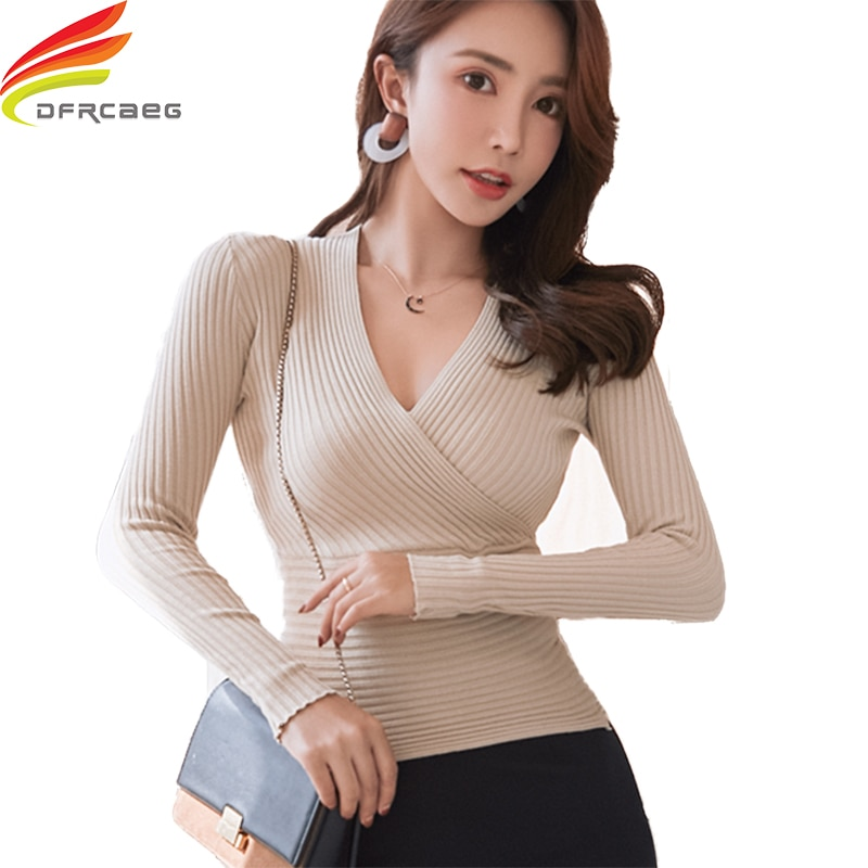 2020 New Sexy Deep V Neck Sweater Women's Pullover Casual Slim Bottoming Sweaters Female Elastic Cot