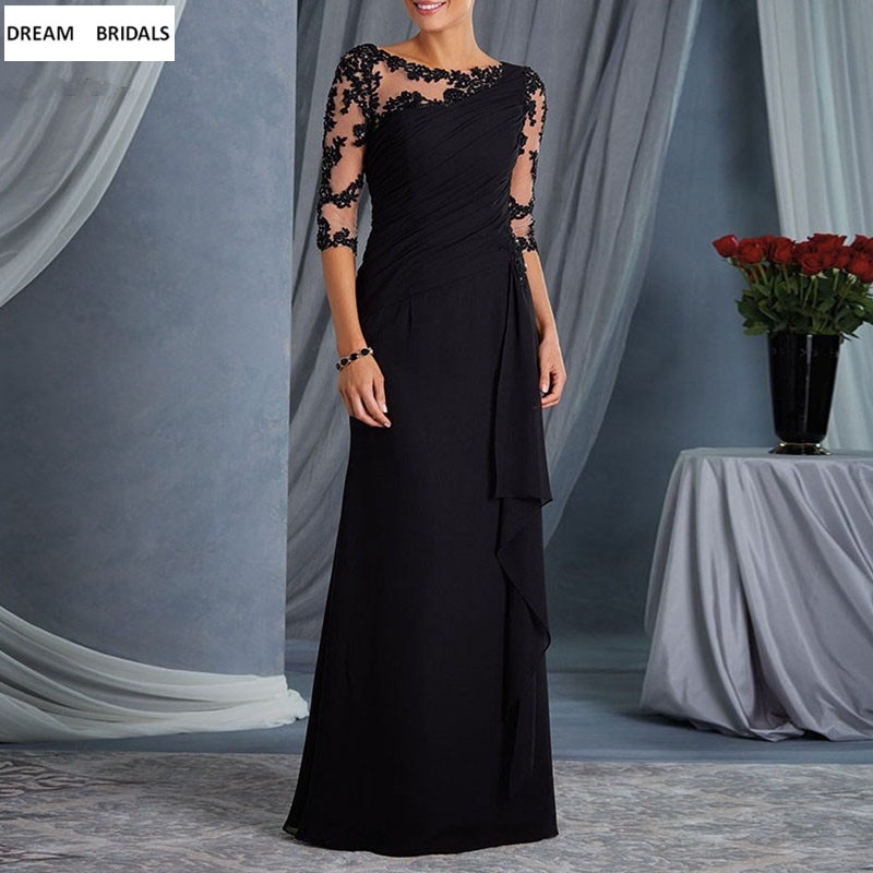 A-Line Mother of the Bride Dresses With Half Sleeves Appliques Beading Lace Chiffon Mother of the Br
