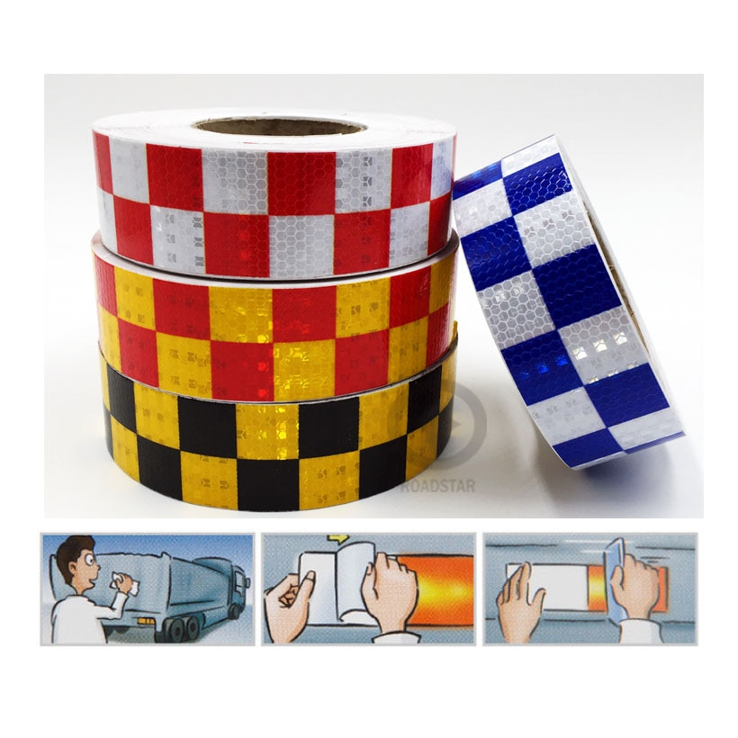 5cm X 10m Shining Reflective Warning Tape with Square Printing for fairways truck motorcycle bicycles