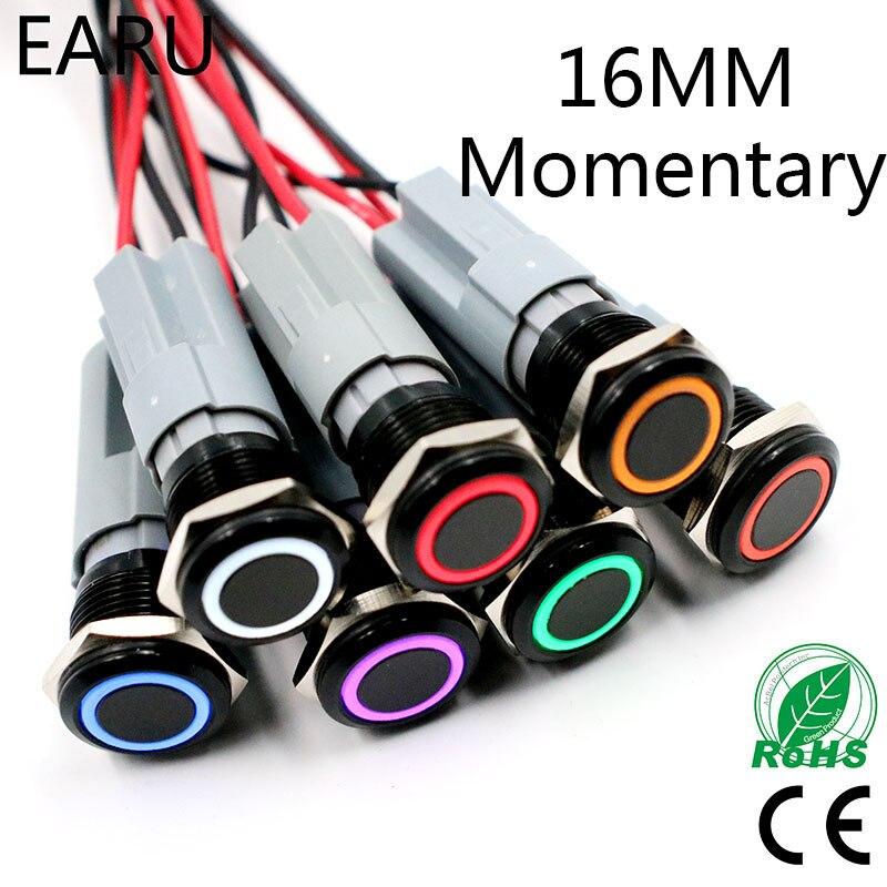 Timbre de Metal de acero inoxidable impermeable momentáneo LED de 16mm, bocina, interruptor de botón, encendido de PC de motor de coche