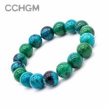 Bracelets en perles de pierre de Malachite en Chrysocolla naturelle 2017 fen pour femmes, bracelet en perles rondes, bijoux avec pendentif, bijoux vintage