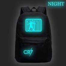 Криштиану Роналду CR7 Светящийся рюкзак студенческие сумки для мальчиков и девочек модные светящиеся в темноте школьные рюкзаки для подростков Повседневный Рюкзак для детей подростков