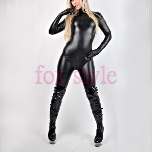 Classical latex blcak catsuit  normal catsuit with gloves and socks but without any decorations