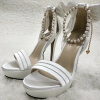 women stiletto high heel sandal sexy pearl chain open toe platform bowing ivory satin wedding bridals party lady shoe 3463sl f