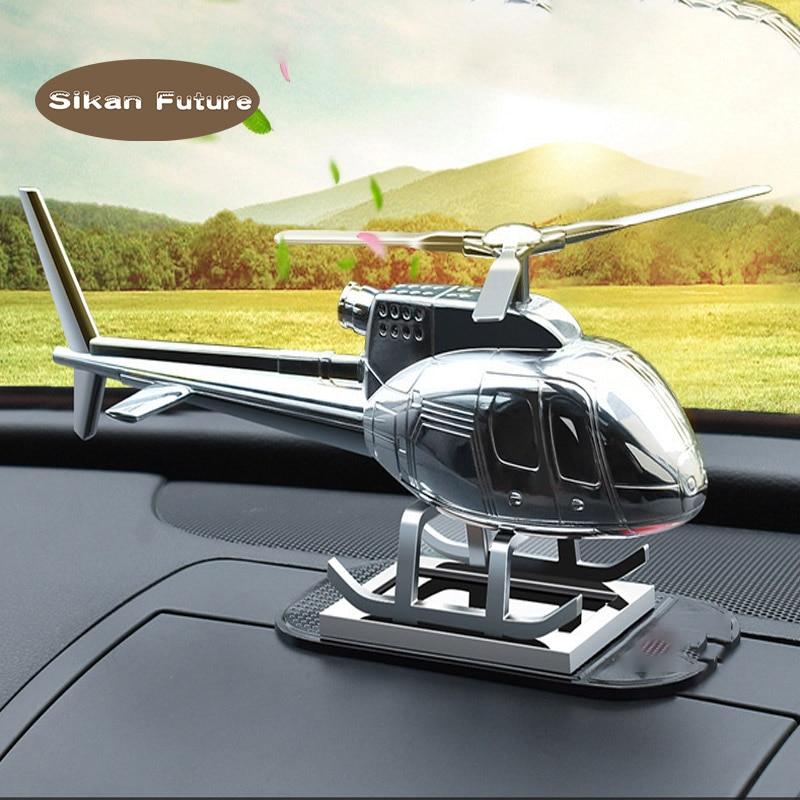 Car Supplies Creative Helicopter Aircraft Decoration High-grade Metal Gift Solar Car Perfume Fragrance Car Airplane Ornament