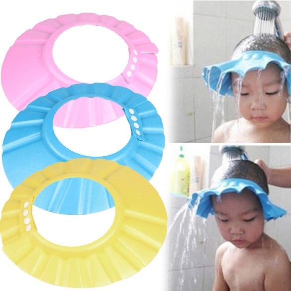 Crianças bebê Cap Shampoo Ajustável EVA Espuma de Banho Shower Cap Hat Wash Escudo Cabelo Rosa/Azul/Amarelo