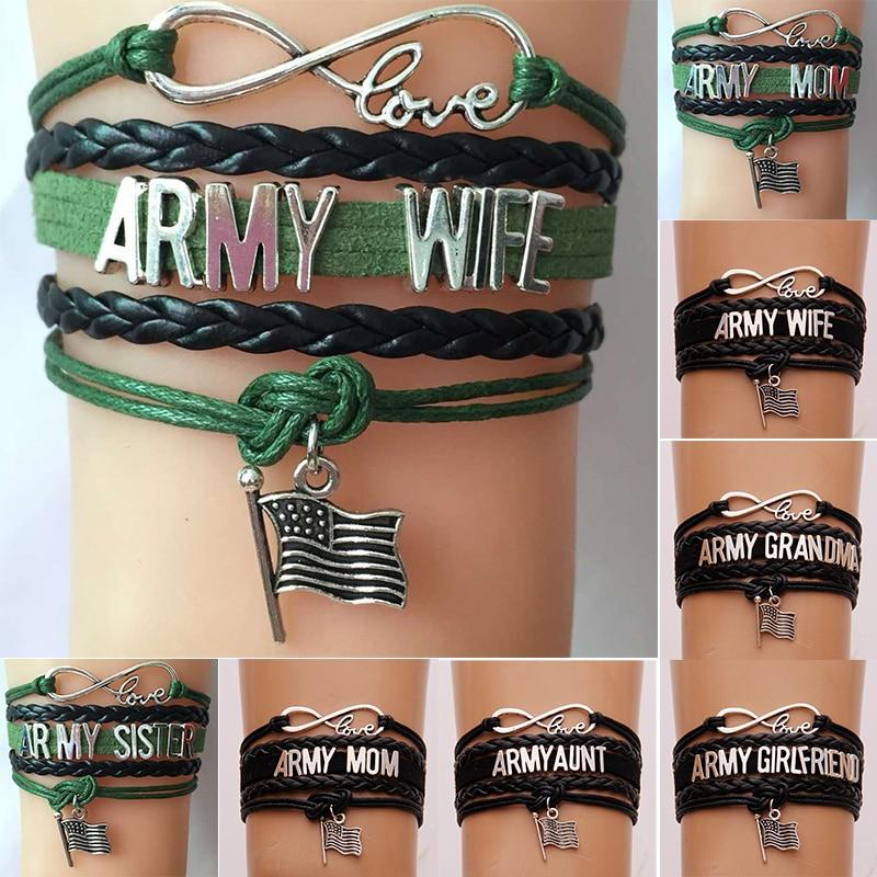 Infinity Love Army Mom/Wife/Grandma/Aunt/Uncle/Sister/Girlfriend Family Members Bracelet & Bangles Flag Charm Braided Jewelry