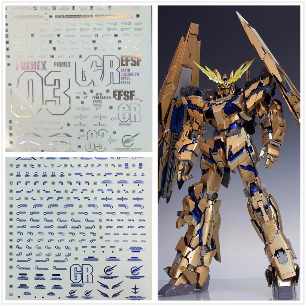 D.L alta calidad magia calcomanía de color pasta de agua para Bandai PG 1/60 RX-0 Gundam unicornio 03 Phenex DL034 *