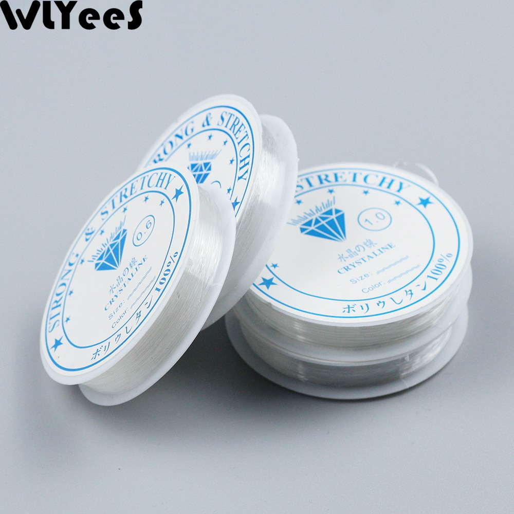 WLYeeS 0,4-1,2mm transparente elástico cristal línea rebordear cuerda Hilo DIY pulsera hecha a mano
