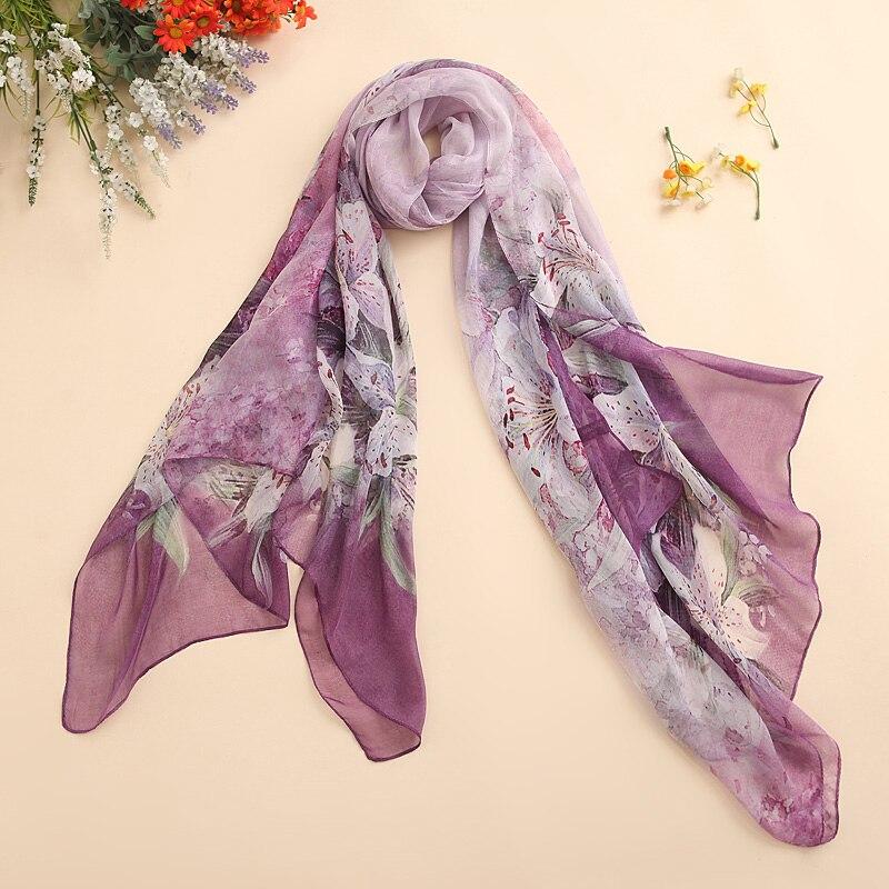 Shanghai Story-écharpe en soie naturelle   Longue écharpe portefeuille pour femmes, style châle, Cover-up pour la plage, printemps et été 100%