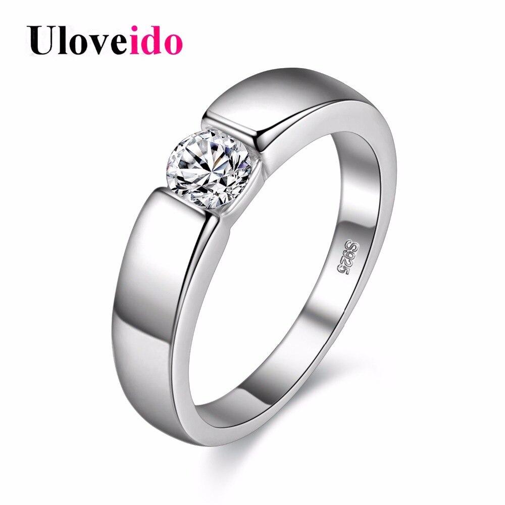 Uloveido anillo de plata para hombre anillos de boda para mujeres Bague Homme Anelli Ringen venta al por mayor Dropshipping 40% de descuento J002