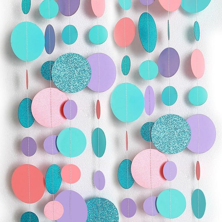 4M Glitter Blue Pink Purple Big Circle Garland For Wedding Baby Shower Ocean Birthday Party Decoration Dot String Hanging