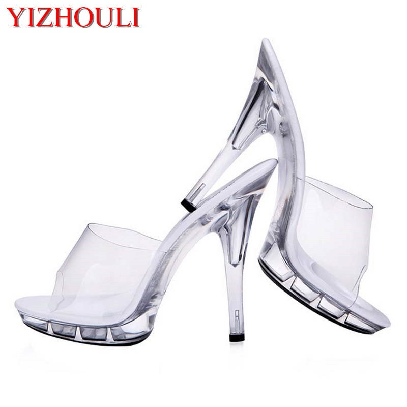 Nuevos, bonitos, tacones transparentes, sandalias sexis modelo de 12-15cm, zapatos de baile en barra
