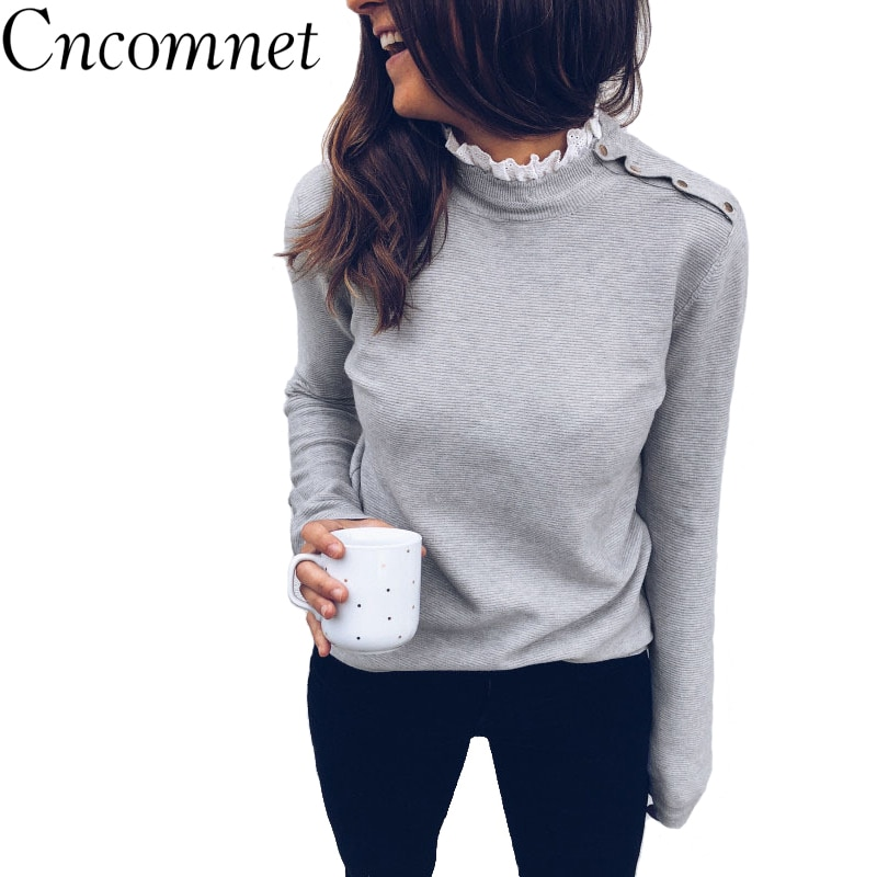 Suéter de punto CNCOMNET para mujer, Jersey Casual de manga larga con cuello de tortuga, jerséis sueltos, Otoño Invierno, Tops blancos grises, ropa de calle