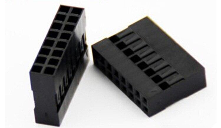 20 unids/lote 16 Pin 2x8 Pin 2,54mm doble fila de plástico Dupont cabeza puente Cable carcasa hembra conector de Pin