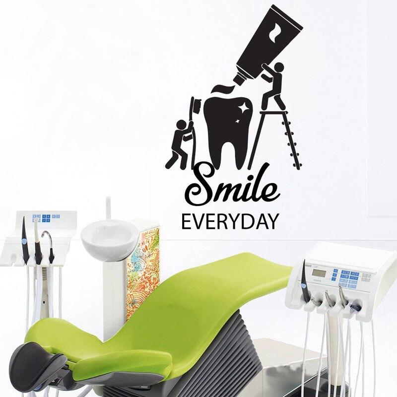 Pegatina de Estomatología de dientes brillantes, pegatina de vinilo para ventana de clínica Dental, pegatinas de arte para pared de sonrisa de dentista, decoración de dientes extraíble Z278