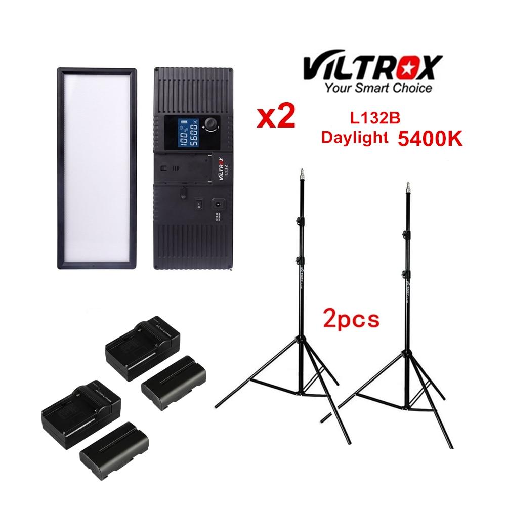 Viltrox L132B Dimmable LED Video Light 5400K Studio LED Lighting Kit + Light Stand + battery+charger for Camera YouTube live
