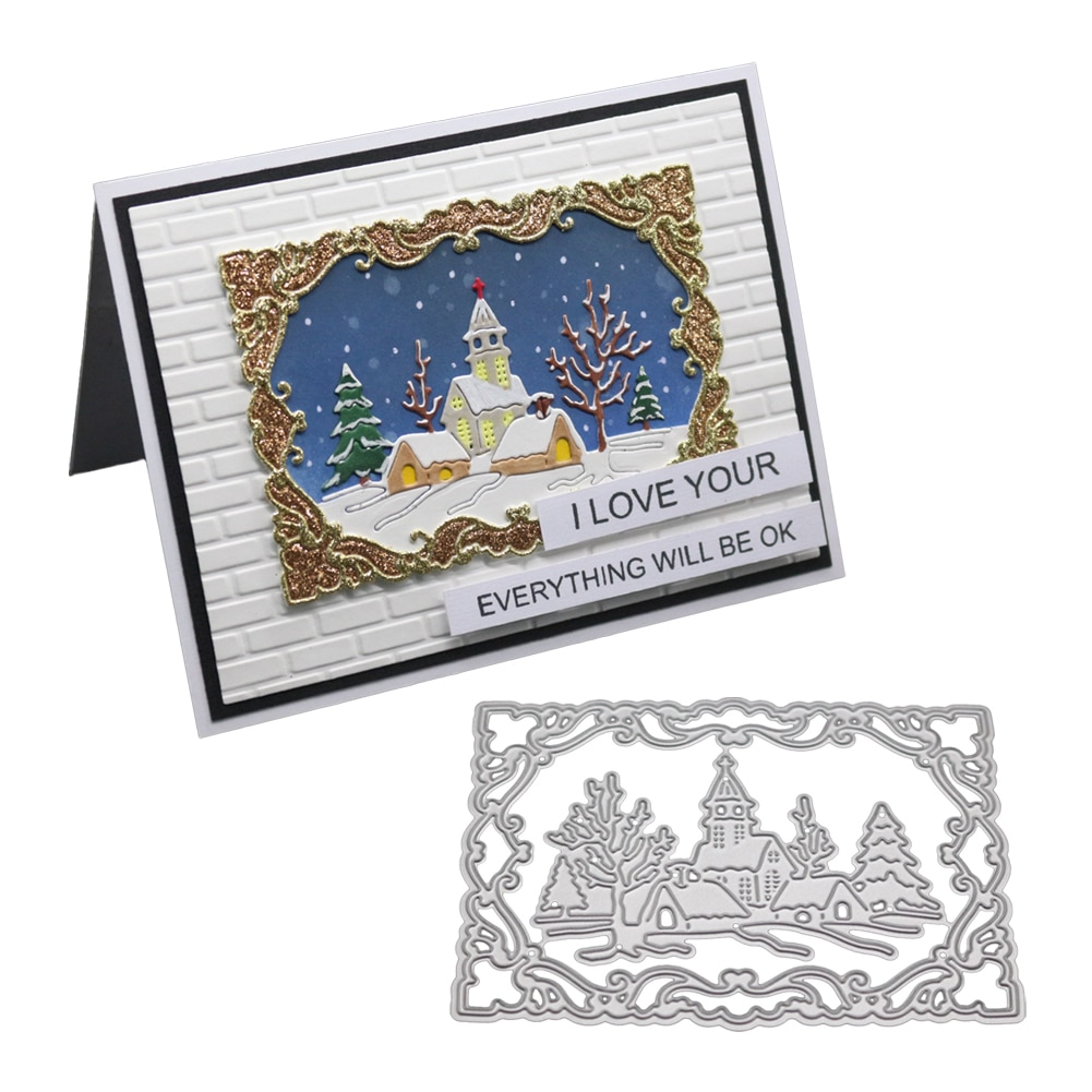 Troqueles de recortes rectangulares marcos de Castillo de Metal esténcil y sellos para tarjetas de grabado DIY que hacen troqueles de árboles 2019