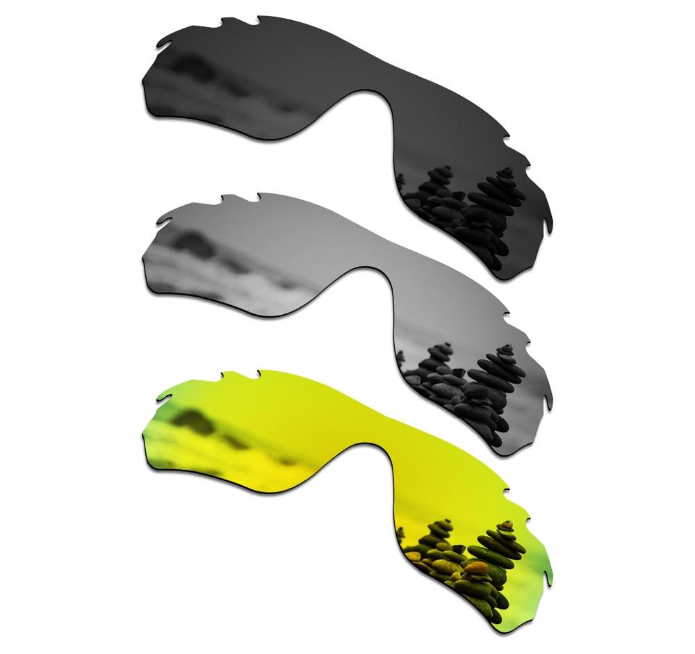 Gafas de sol polarizadas de 3 piezas SmartVLT lentes de reemplazo para el borde de roble RadarLock ventilado negro y plata titanio y oro de 24 K