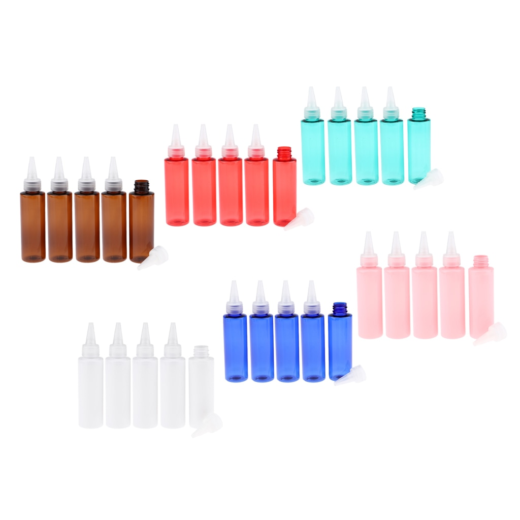 5 piezas botellas de plástico vacías de 100 ml con giro tapa traje para disolventes de pintura en líquido pegamento para casa de salón