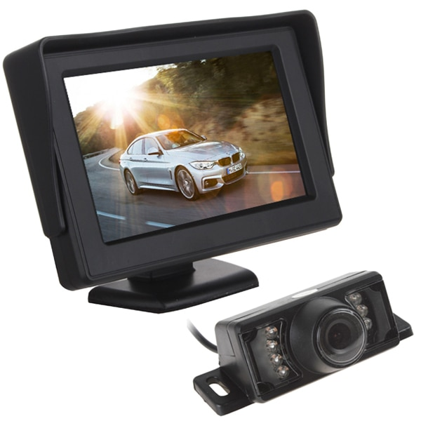 Panel de vista trasera de coche Digital impermeable de 12V y 4,3 pulgadas Monitor LCD + 7 luces IR visión nocturna vista trasera de coche cámara de marcha atrás