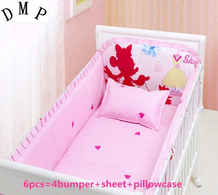 تعزيز! 6 قطعة الكرتون الطفل سرير مجموعة Unpick ، مصدات الطفل بروتيتور دي برسو ملاءة السرير (4 الوفير + ورقة)