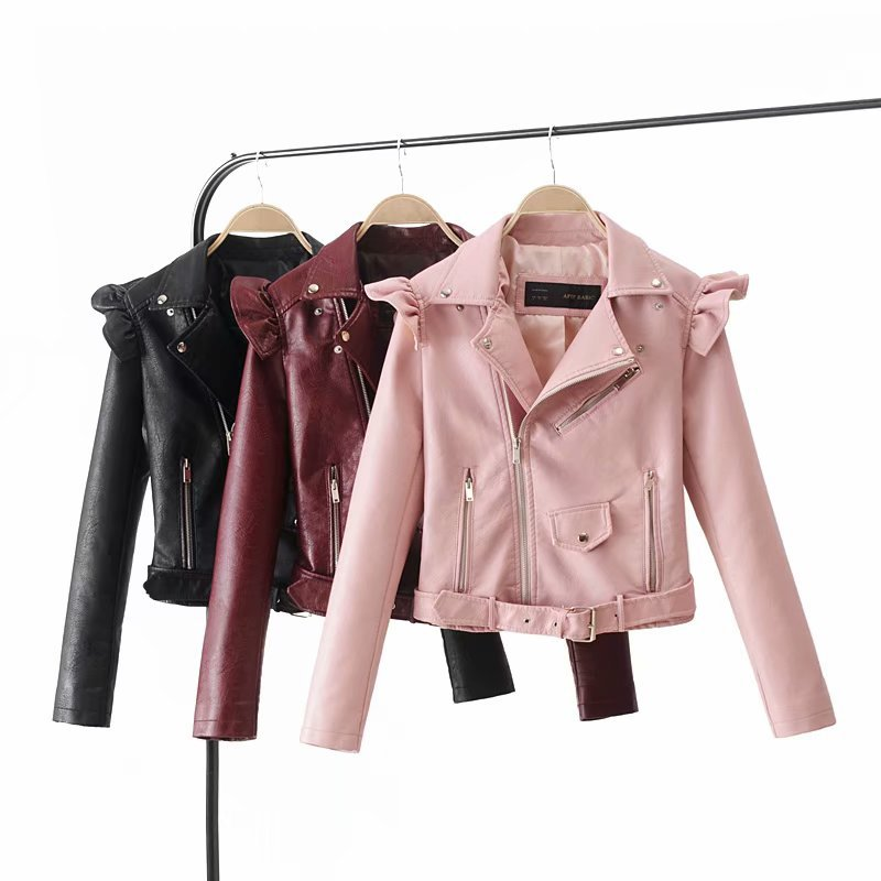 Moda Outono Mulheres Jaqueta de Camurça Motocicleta Marrom Fino Completo Forrado Macio Faux Couro Feminina Casaco Dragona Zipper