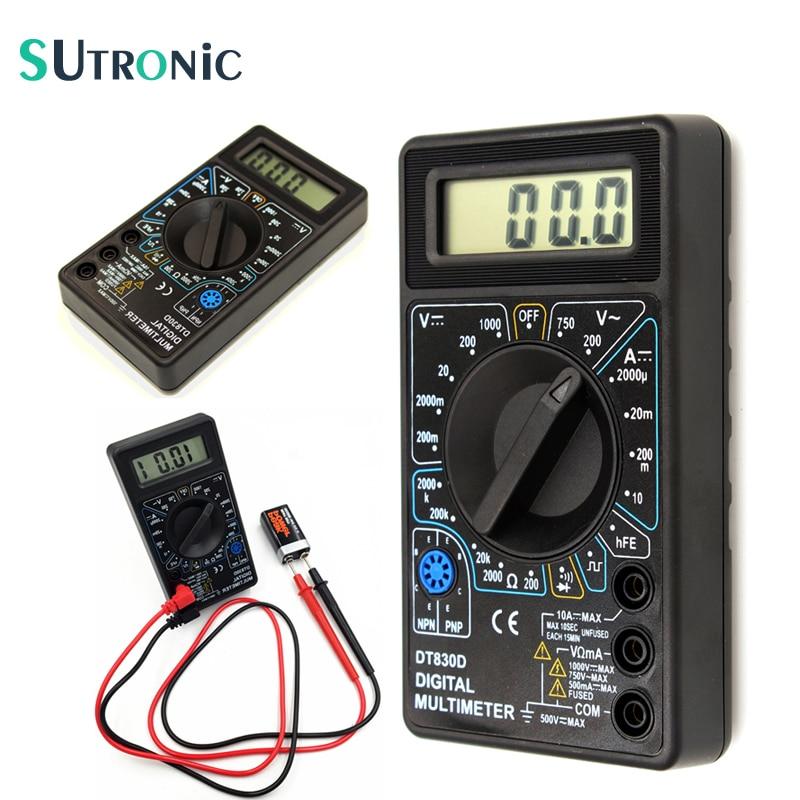 DT-830D Mini multímetro Digital con zumbador protección contra sobrecarga onda cuadrada salida voltaje amperio Ohm probador sonda DC AC LCD