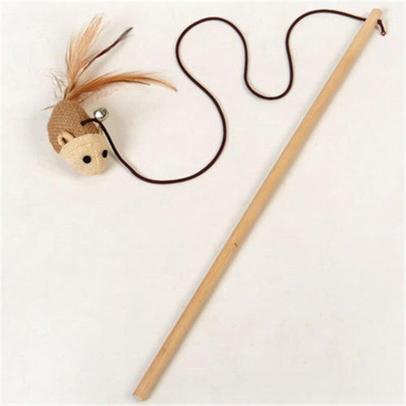 Yooap 2019 Gato juguetes con cascabel Stick de madera gatito pluma Teaser Wand juguete interactivo (ratón) gato de peluche Como se ve en la TV, juguete para gato