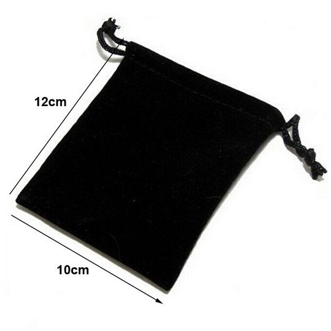100 unids/lote 10x12cm negro/azul/Rojo/vino rojo bolsas de terciopelo con cordón bolsas de joyería bolsas de embalaje bolsa de regalo de boda logotipo personalizado