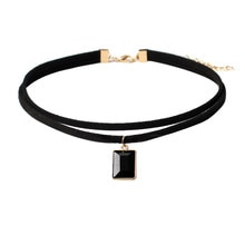 susenstone 2020 Black Lace Choker Tattoo Necklace Gothic Punk Stretch Velvet Pendant Women Collar Jewelry Chocker Necklaces New
