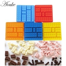 1 PCS Lego Baksteen Blokken Vormige Rechthoekige DIY Chocolade Silicone Mold Ice Cube Tray Cake Tools Fondant Mallen