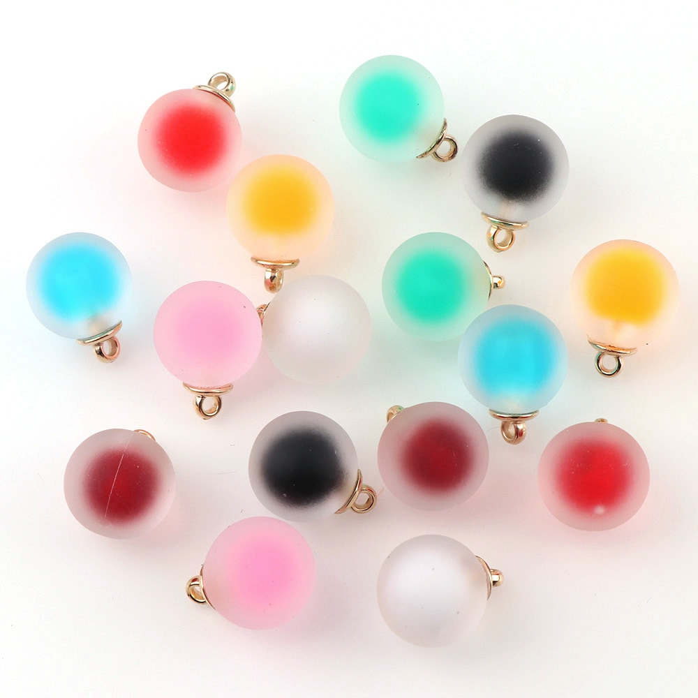 10pc 16mm colorido fosco bola de vidro dupla cor encantos pingente encontrando para acessórios jóias do cabelo brinco encantos