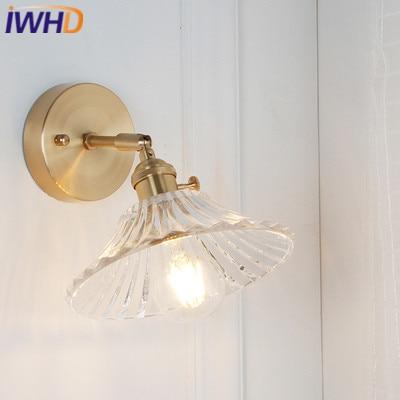 IWHD النحاس الشمال نمط الجدار مصباح أضواء خمر وحدة إضاءة LED جداريّة مع زجاج عاكس الضوء تركيبات المنزل الإضاءة السرير الشمعدان الإنارة