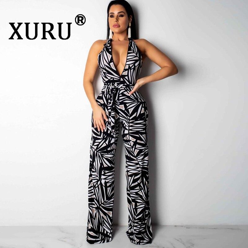 XURU sexy new womens V-neck sleeveless loose jumpsuit black painted print