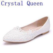 Cristal Queen ballerines blanc dentelle chaussures de mariage talon plat chaussures décontractées bout pointu femmes mariage princesse chaussures plates grande taille 43