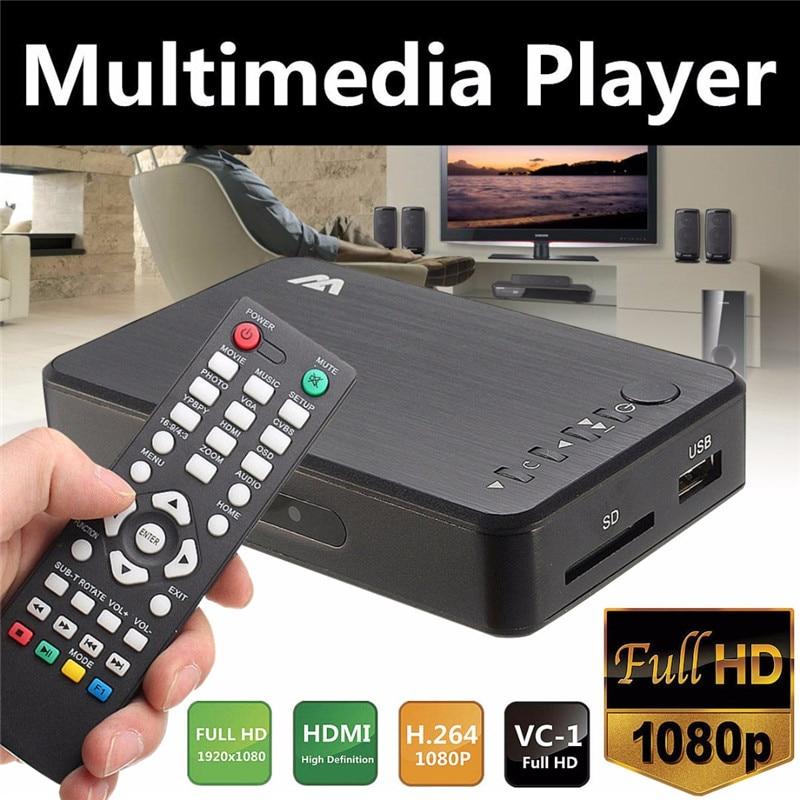 Мини 1080P HDMI мультимедийный плеер Наборы Профессиональный HDD USB2.0 Внешний мультимедийный плеер с 3 выходами HDMI/VGA/AV Mayitr