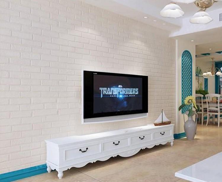 Nowoczesne 3D Cegły Off Biała Piana Grube Tłoczone Winylu oblicowywanie Ścian Ściany Rolki Papieru Tle Ściany salon Sypialnia Tapety 4