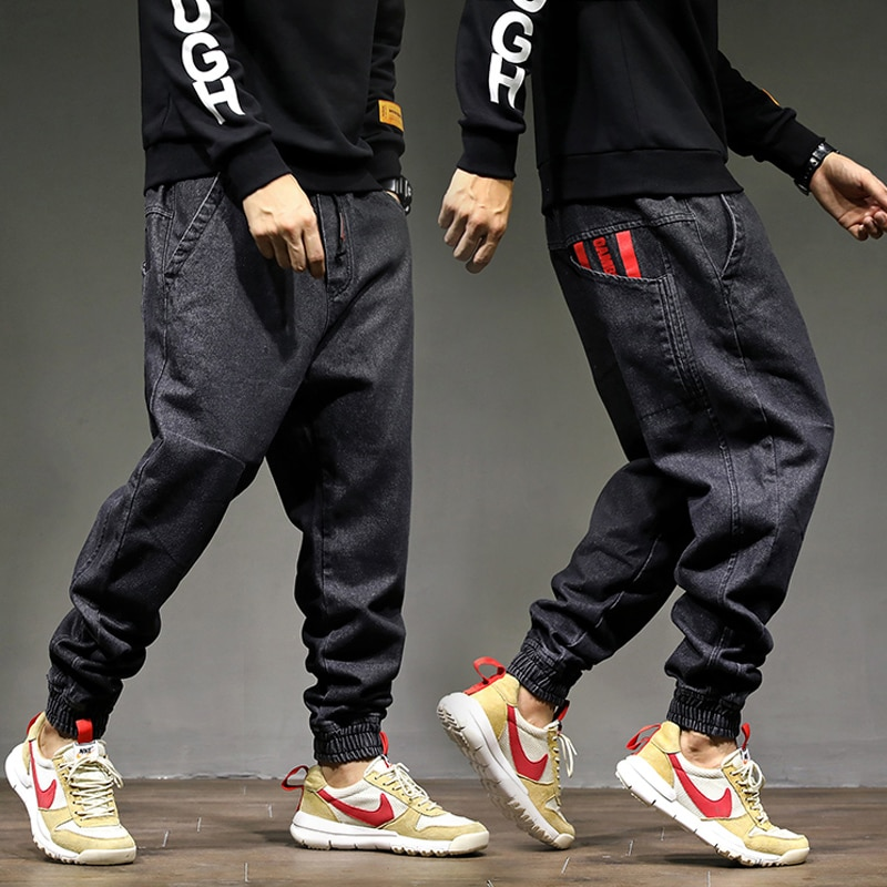 Moda de venta al por menor, Pantalones vaqueros de Jogger para hombres, Color negro, talla 28-42, calidad superior, pantalones holgados Cargo, pantalones Harem, pantalones vaqueros de Hip Hop para hombres