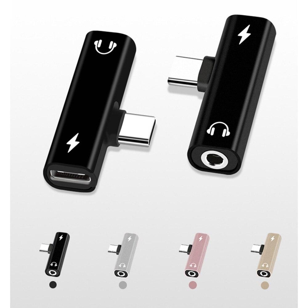2 In 1 Typ C Zu 3,5mm Jack Kopfhörer Lade Konverter USB Typ-C Audio Adapter für Xiaomi 6 Huawei P10 Mate 20 Typ C Handys