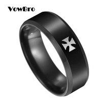 Anillo Cruz de Hierro VowBro para hombre, moda sencilla negra de titanio, accesorios de fiesta preferidos para hombre, regalo de joyería