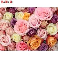 KAMY YI 5D diy peinture en diamant   Perceuse complete carree ronde  peinture en diamant   fleurs rose douce   broderie en diamant mosaique  point de decoration au point de maison  HYY cadeau