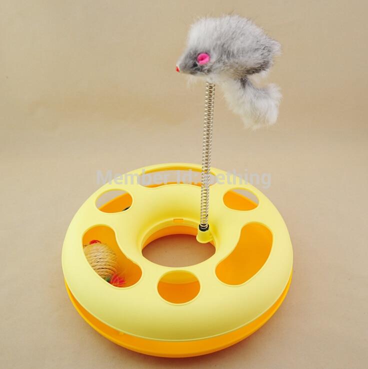 2015 Venta caliente de juguetes para gatos, juguetes lindos para gatos, disco de plástico con ratón, juguetes de entrenamiento para gatos