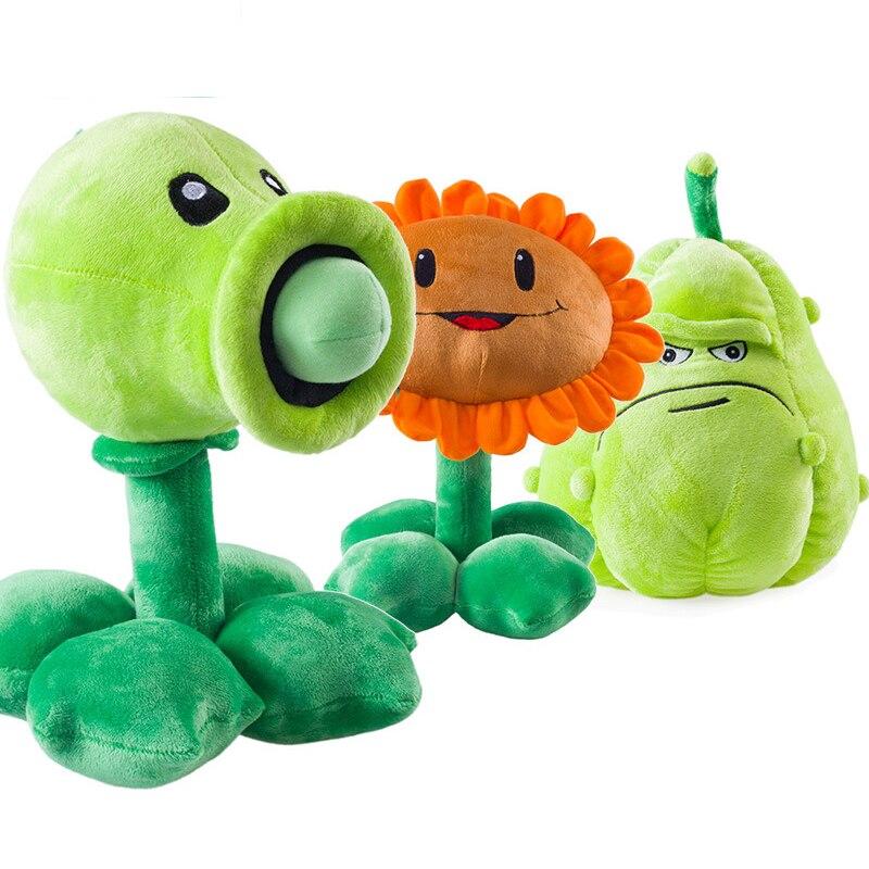 3pcs/lot 30cm PVZ Plants vs Zombies Plants Peashooter Squash Sunflower Plush Toys Soft Stuffed Toys Doll Gifts for Kids Children