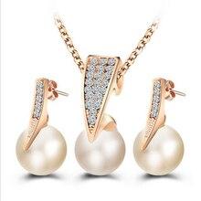 ZOSHI – ensemble de bijoux pour femmes, collier de perles Imitation classique, couleur or, cristal clair, cadeau de fête élégant, bijoux de Costume à la mode